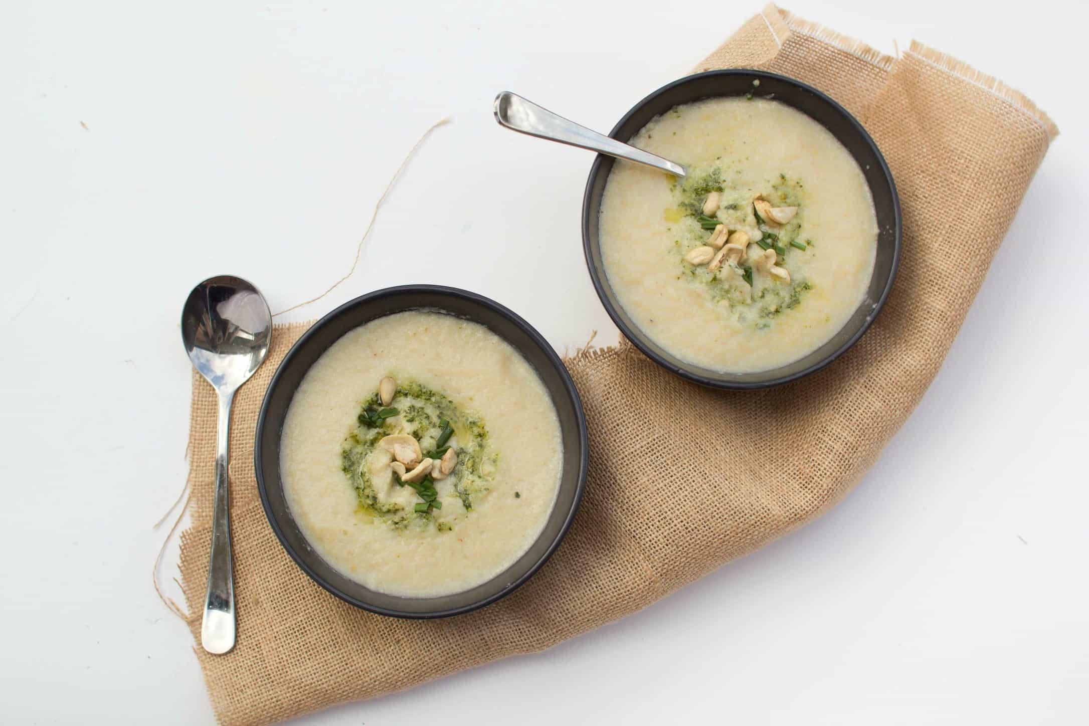 Creamy cauliflower soup with pumpkin, cashew & tofu fritters