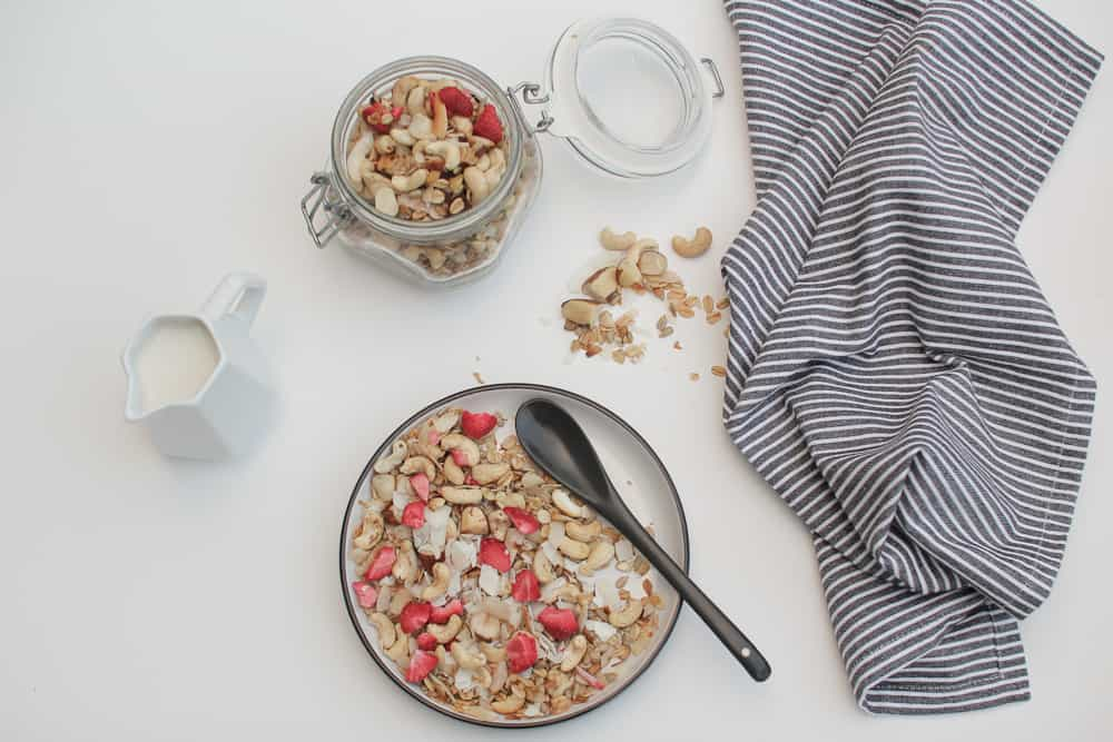 Home made muesli with cashews coconut