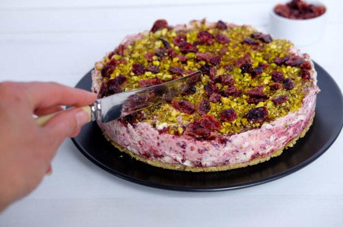 Cranberry and Pistachio Cheesecake
